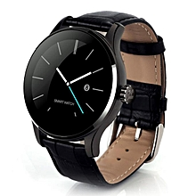 K88H MTK2502C Bluetooth Smart Watch Heart Rate Track Wristwatch Leather BK