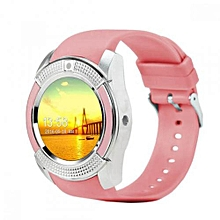 V8 Touch Screen Sports Round Screen Smart Phone Watch - Pink