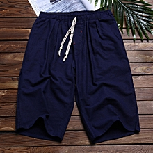 Linen Mens Summer Loose Knee-Length Shorts Drawstring Solid Color Mid Rise Shorts