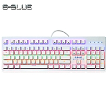 E - 3LUE K757 Mechanical Keyboard for Gamers with Colorful LED Backlight 104 Keys WHITE BLUE  SWITECHES