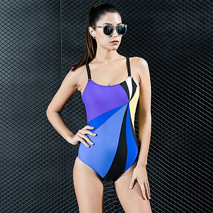 c5f677d3bac Sexy Women One-piece Swimsuit Contrast Color Block Sporty Monokini Swimwear  Bathing Suit Blue/ ...