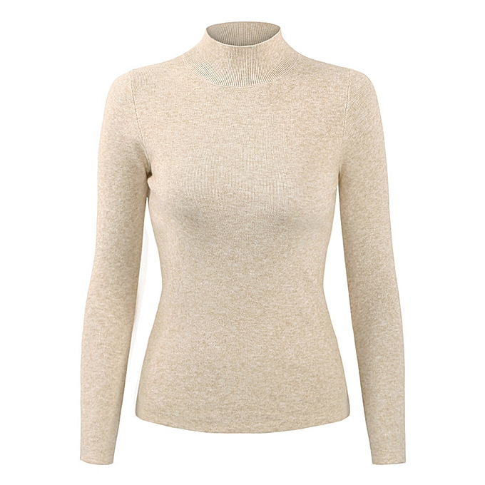 0b602256777f Casual Women Autumn Winter Basic Knitted Sweater Solid Color Turtleneck  Pullovers Top Slim Knitwear