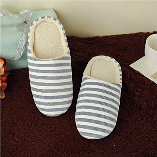 2d1c011e0 Allwin Striped Indoor Cotton Slippers Anti-slip Winter House Shoes Soft  Bottom navy blue 36 37   Best Price