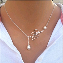 Hot Sale Luxury Leaf Imitation Pearl Necklace Circle Lariat Necklace Jewelry  Wedding Party Gift Tree leaf fe382aac5669