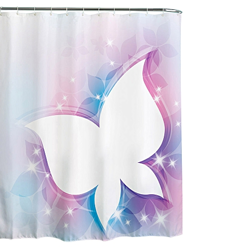 Fabric Waterproof Bathroom Shower Curtain Panel Sheer Decor With Hooks Set A