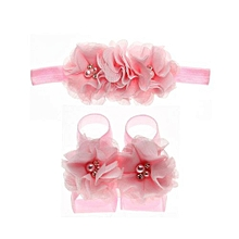 3 Pcs/set Toddler Kids Hairband And Barefoot Flower Sandals -Pink