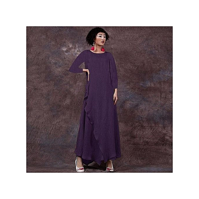 f8430a8fb916 Fashion Celmia Womens Vintage Crew Neck Long Sleeve Shirred Plain Loose  Casual Kaftan Maxi Swing Dress Purple