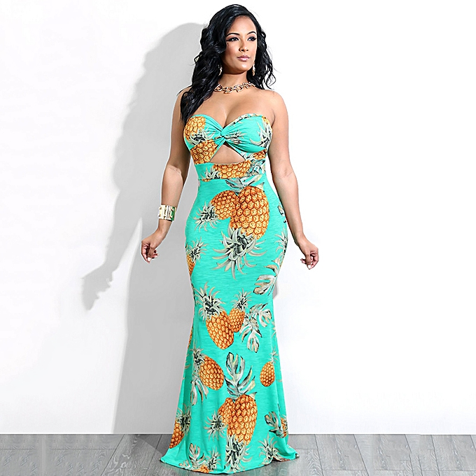 0c61821404 Women Tube Top Long Dress Pineapple Print Twist Front Cut Out High Waist  Casual Evening Party