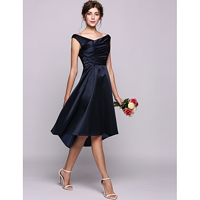 Buy Sunshine A-Line/Princess Off-the-Shoulder Asymmetrical Satin ...
