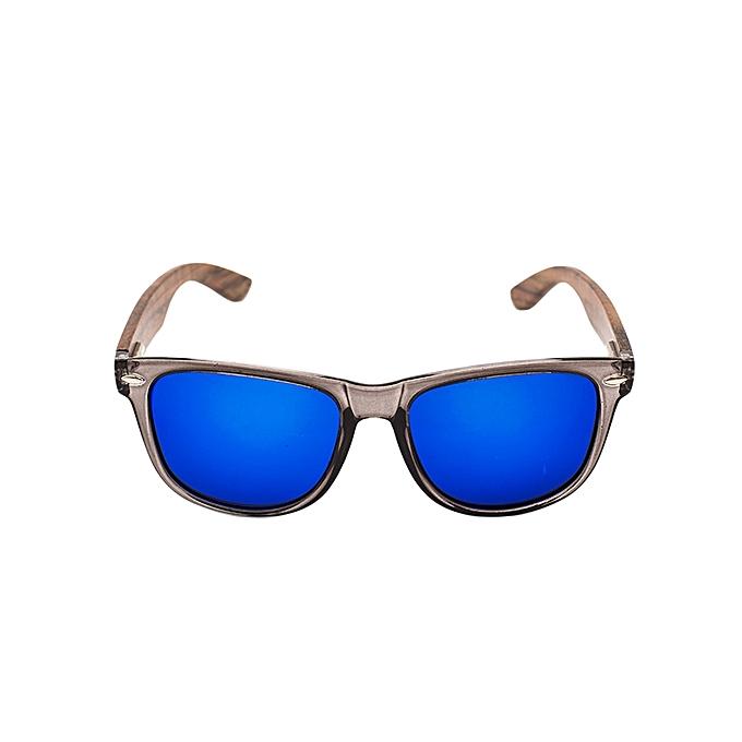 bd013d06403 Black Frame With Ebony Wood Arms And Blue Revo Polarized Lens Sunglasses