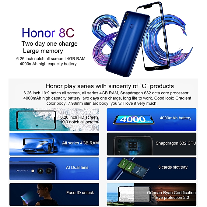 Honor 8C, Dual 4G, 4GB+32GB, 6 26 inch EMUI 8 2 (Android 8 1) Smartphone -  Gold