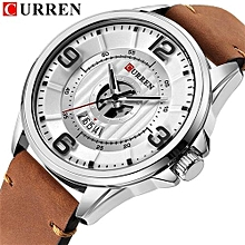 8305 Fashion Casual Business Wristwatches Leather Strap Quartz Mens Watches Display Date Clock - Brown