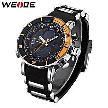Watches, 5203 Men Sport LED Back Light Analog Quartz Digital Alarm Stopwatch Outdoor Military Watches - Black