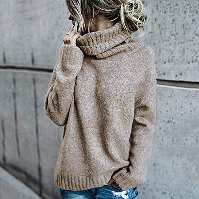 Women Autumn Winter Solid Color Sweater Mohair Turtleneck Drop Shoulder Loose  Pullover Top Knitwear ... 1945b8d81