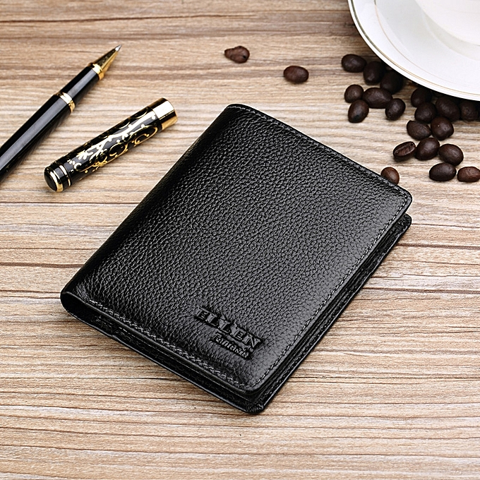 Black Shu Style LeatherLeather Purse Male Youth Students Money Clips Small Leather Wallet Tide Of