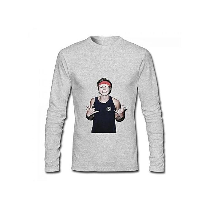 Buy Generic 5sos Ashton Irwin Mens Cotton Long Sleeve T Shirt Grey