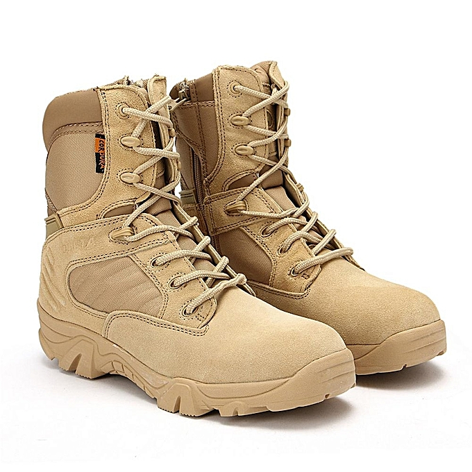 ... New Army Tactical Desert Mens Leather Combat Boots Military Shoes  Soldier Sand 9ebe943e458b