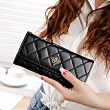 Fashion Argyles Texture Metal Crown 3-Folding Long Design PU Leather Wallet Coin Purse for Women(Black)