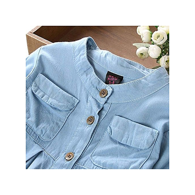 d11f3ba824a2 Eissely Toddler Kid Baby Girls Denim Ruched Long Sleeve T-Shirt Tops ...