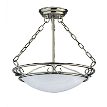 Searchlight Semi-Flush 2 Light Ceiling Light With Marble Glass