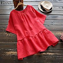 ZANZEA Women Round Neck Plain Tops Tee Shirt Summer Loose Ruffled Baggy Blouse
