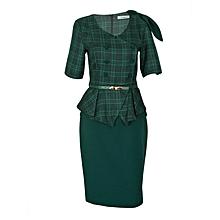 Green V Neck Dress With A Belt