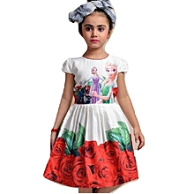 Frozen white short sleeve cotton dress with red roses border