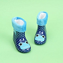 Waterproof Child Animal Rubber Infant Baby Rain Boots Kids Warm Rain Shoes- Dark Blue