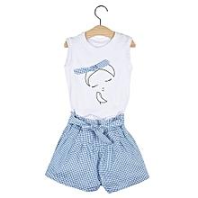 Girls 2Pcs T-Shirt Applique Short Skirt Clothing Set - White - 130