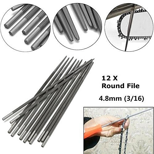 12pcs 4 8mm Chainsaw Round Files 3/16'' for Sharpenning Chains Saw Sharpener