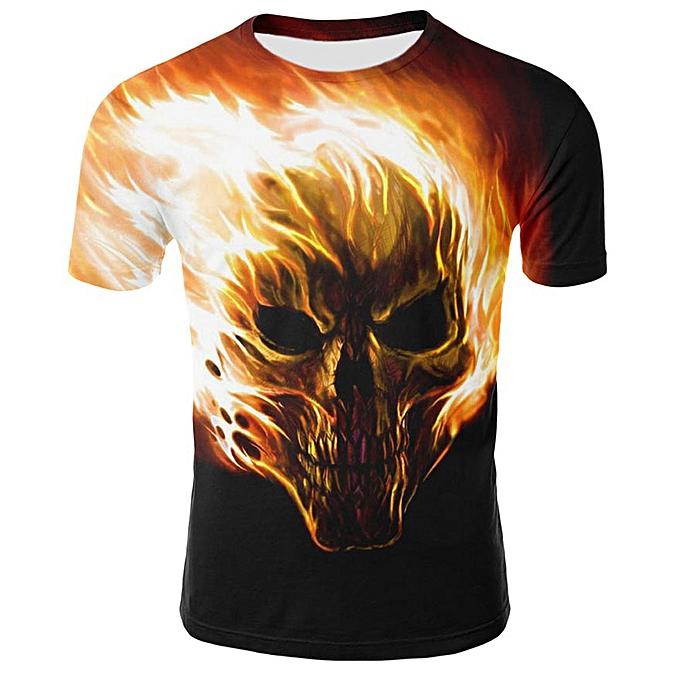 bf914e48f3c7 Mens Skull 3D Printing Tees Shirt Short Sleeve T-Shirt Blouse Tops-Black