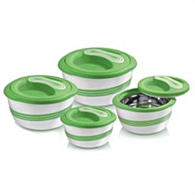 Set of 4 Palazio Thermo Dish Hot or Cold Casserole Serving Bowls with Lids Green
