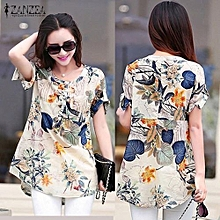 ZANZEA Women Blouses Summer Vintage Print Blusas Shirts O Neck Short Sleeve Roll Up Casual Tees Tops (Orange)
