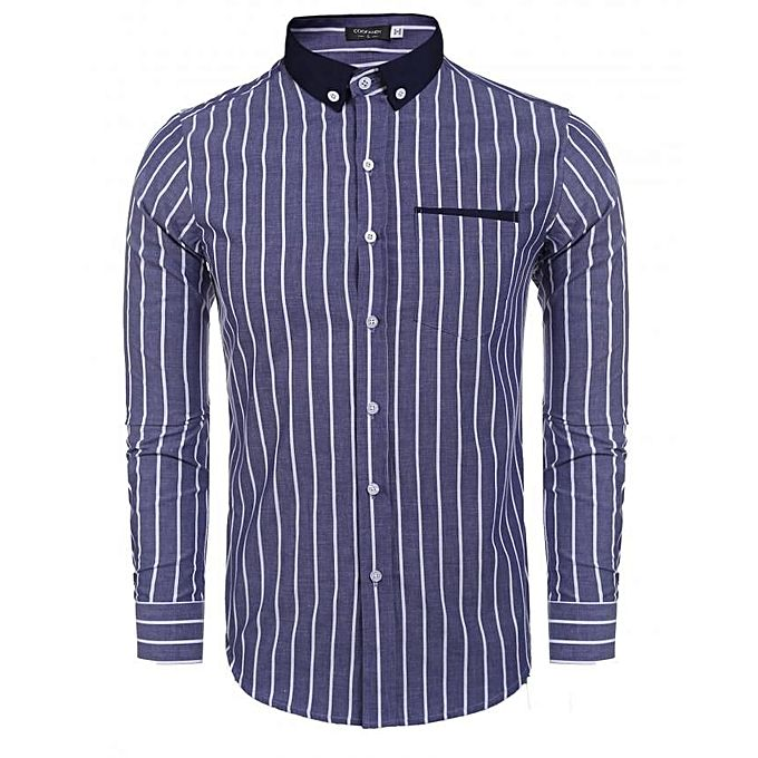Casual Long Sleeve Pinpoint Contrast Color Slim Striped