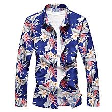 Print Cotton Long Sleeve Shirts For Men (Blue)