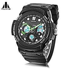 AK16121 Dual Quartz Digital Men Watch LED Stopwatch 5ATM Sport Wristwatch-Green-Green