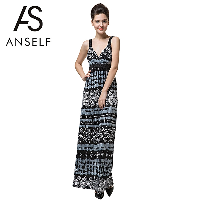a995e51f1d41 Fashion New Sexy Women Long Maxi Dress Geometric Print Deep V Neck Backless  Elegant Bohemian Party Slip Dress Black