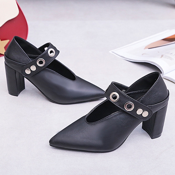1419aa48ed3 ... duanxinyv Vintage Womens Flats Pumps Ladies Pointed Faux Leather Thick  Heel Single Shoes Made In China