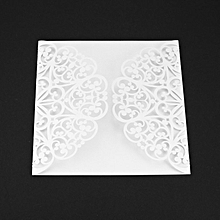 10Pcs Flower Wedding Invitation Cards Envelopes Seals Cover Decor ice whtie