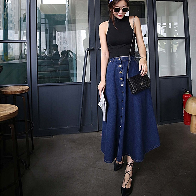 30a4e1028ee477 TB Korean Style Women High Waist Loose Type Long Skirts Clothes Denim dark  blue