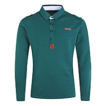 Epaulet PU Leather Applique Polo T-shirt - GREEN