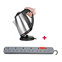 Cordless Electric Kettle - 2Litres With Red Lable 6-way Extension cable - Silver