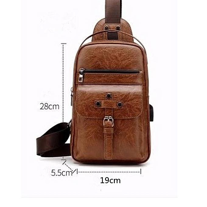 a39377527730 USB Male Chest Bag Casual Zipper Backpack Men's Messenger Bag-Khaki