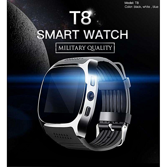 T8 Bluetooth Smart Watch Support SIM TF Card Camera Smartwatch Sports Fitness Tracker Wristwatch for Android iOS Black