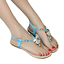 Hiamok_Women Rhinestone Owl Sweet Sandals Clip Toe Sandals Beach Shoes BU 36