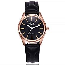 Fohting  CCQ Women's Casual Quartz Leather Band Newv Strap Watch Analog Wrist Watch -Black