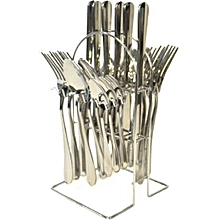 24 Pcs Stainless Spoon Cutlery set with a Stainless Steel Stand - Silver