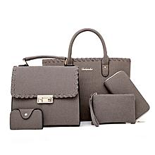 4 in 1 Grey Velvet Handbag set for women