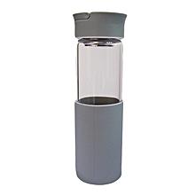 Glass Water Bottle - 550ml - Grey