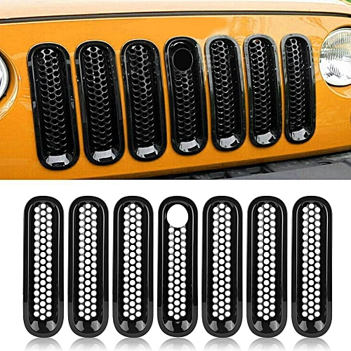 Front Grille 7pcs Front Grill Mesh Grille Insert Cover Trim Black for Jeep  Wrangler Rubicon Sahara Jk 08-17